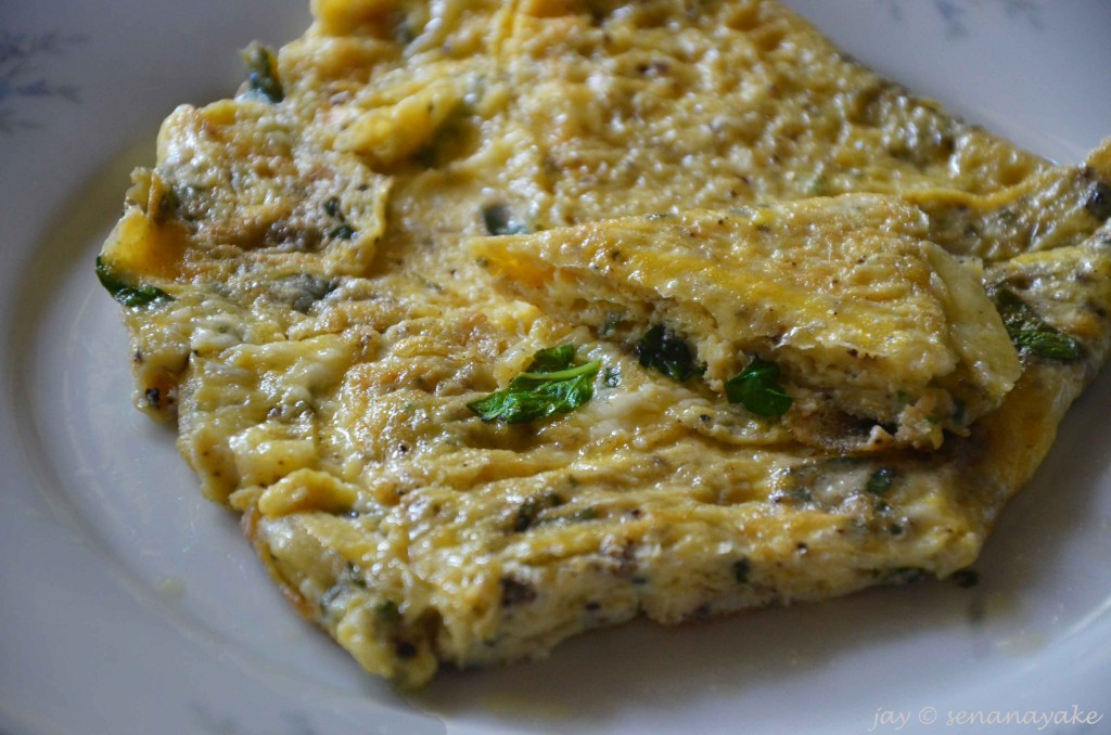 Herb and cheese omlette
